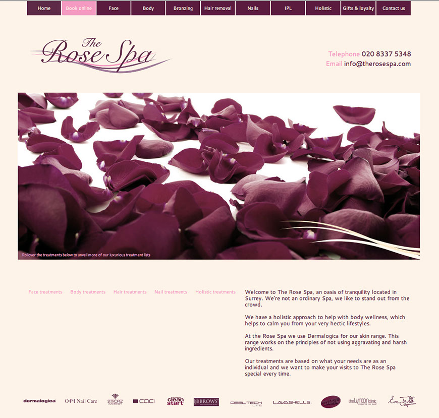 An image of the homepage The Rose Spa